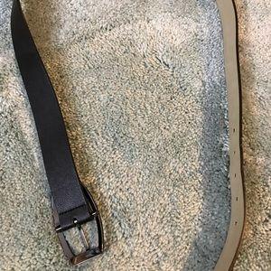 Accessories - XL faux leather black belt. EUC. Silver buckle.